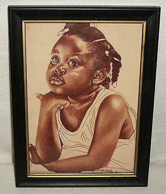 Black Americana Framed Reproduction Print Sitting Cute Young Girl /w Braids