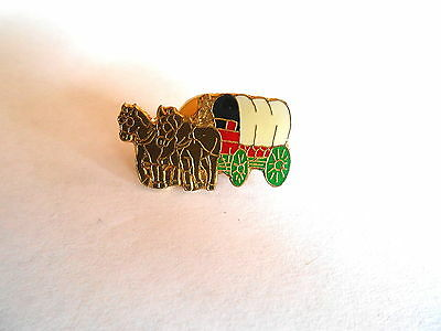 Vintage Colorful Contestoga Covered Wagon Western Culture Heritage Pin Pinback