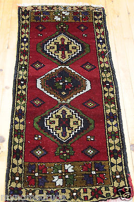 Antique 1900-1939s 1'7''x4' Natural Dyes Wool Pile Tribal Cushion Cover Rug