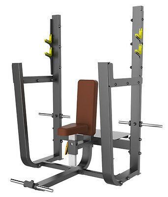 New Olympic Seated Shoulder Press Bench With Spotters Platform & Plate Storage H