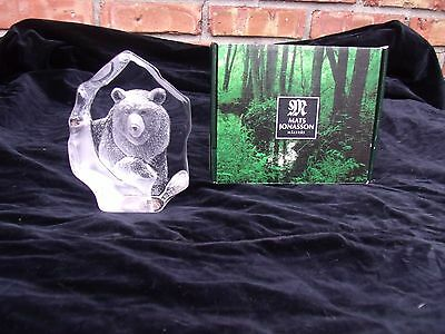 Mats Jonasson Lead Crystal Grizzly Bear  Paperweight Signed/numbered With Label