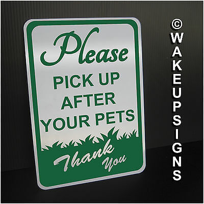 "Please Pick Up After Your Pets Sign Aluminum 7"" By 10"" Metal No Dog Pooping"