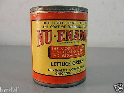Nu-Enamel Lettuce Green Lettering Paint Made In Usa 1940S 1/8Pt Sealed Antique