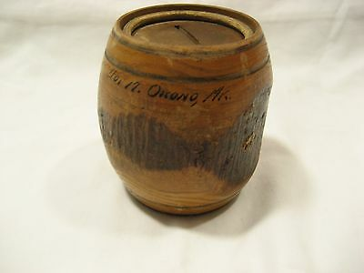 Vintage Small Wood Barrel Bank With writing on side