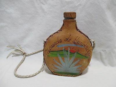 Vintage Hand Painted Leather Cover Canteen