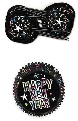 24 Happy New Year Cupcake Set Muffin Baking Cake Party Decor Tableware Toppers
