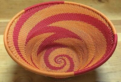 "Orange And Red Swirl African Zulu ""IMBENGE"" Recycled Telephone Wire Basket"