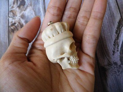 Pendant Necklace Skull Head From Deer Antler Carved with Silver 925_w138