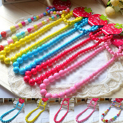 Colorful Jewelry  Girls Princess Beads Necklace Kids Baby Bracelet Set Toddlers