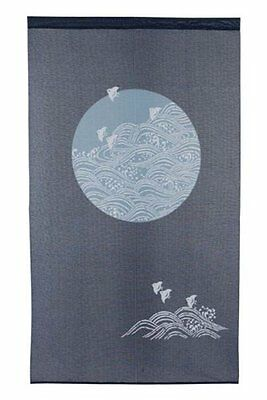 Noren Japanese Curtain Tapestry Chidori with Waves Design
