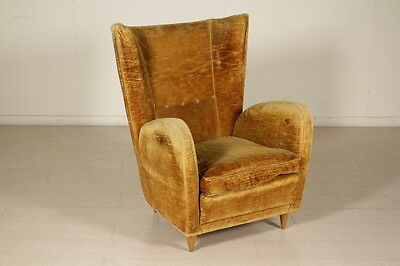 Springs and Foam Padded Armchair Vintage Manufactured in Italy 1950s