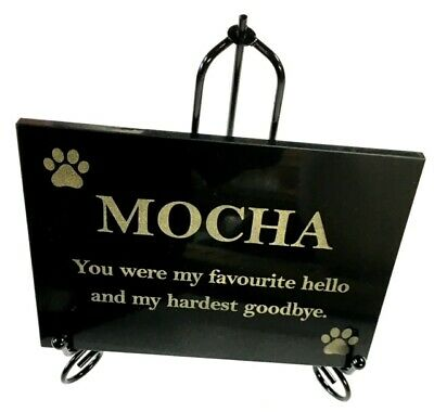 DOG MEMORIAL CUSTOM LASER ENGRAVED BLACK GRANITE with wrought iron stand 200x150
