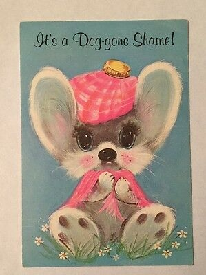 CUTE 60s Vtg Get Well Greeting Card Sick Mouse Mid Century ADORABLE FEEL BETTER