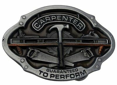 Carpenter (Hammer, Saw) Belt Buckle In a Gift Box + Display Stand.