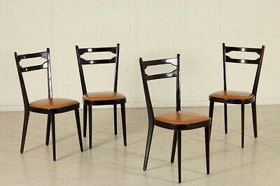 Four Chairs Stained Beech Leatherette Upholstery Vintage Italy 1950s