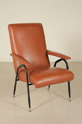 Armchair Foam Leatherette Metal Vintage Manufactured in Italy 1950s-1960s