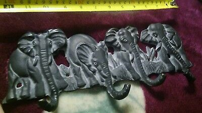 Heavy Cast Iron Elephant Coat Rack  Vintage