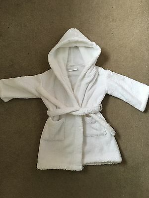 Boys Girls Robe 18-24m -The Little White Company Dressing Gown Bath Robe EXC Con