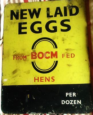 100% ORIGINAL New Laid Eggs From BOCM Fed Hens Double Sided Enamel Sign Rare