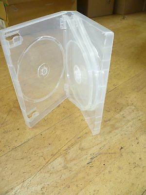 25 x CLEAR EMPTY 3 WAY SINGLE 14MM DVD-CD-BLU-RAY-GAME CASE - FREE POSTAGE