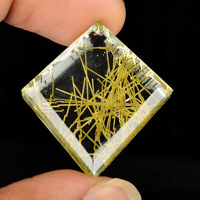 Natural 48.5 ct Brazilian Golden fancy Cut Rutilated Quartz Certified Gem G-215
