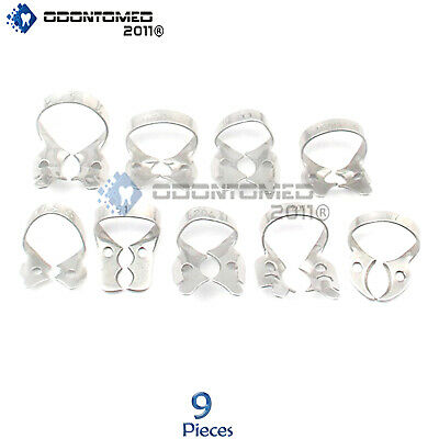 9 Pcs. Endodontic Rubber Dam Clamps Dental Orthodontic Instrument