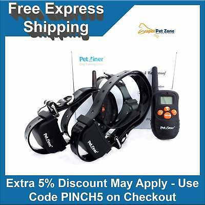 2 DOGS 3 In 1 Rechargeable Pet Remote Anti Bark Vibration Dog Training Collar