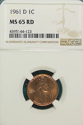 1961-D NGC MS65 RED Lincoln Wheat Cent!! #A6504