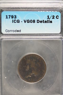 Icg  1793 Vg08 Details   Brown   Half Cent!#cs0020