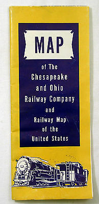 Vintage MAP of The Chesapeake & Ohio Railway Co. RR Railroad