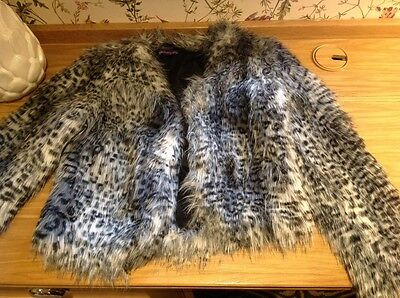 Marks and Spencer girl's faux fur jacket Coat 11-12 years Grey Black Leopard