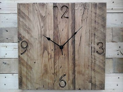 Rustic Pallet Wood Wall Clock Vintage 'Farmhouse' Shabby Chic Old Vintage 40cm