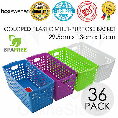 36 x Rectangle Colored Plastic Multi Purpose Basket 29.5*13*12cm Storage Office
