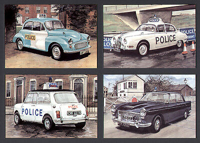 Police Cars--Set Of 4 Postcards