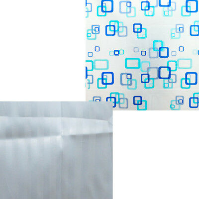 New Modern Bathroom Shower Curtain With Ring Hooks Various Colours And Designs