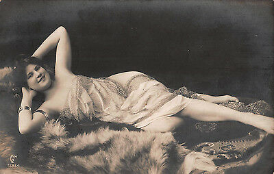 c1907 REAL PHOTO RISQUE GLAMOUR POSTCARD ~ NUDE LADY DRAPED in VOILE