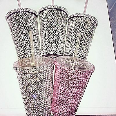 Plastic Cup Tumbler With Straw Diamonte Hand Custom Made Cup Aurora Chalice