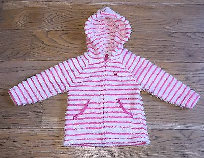 Next Pink And White Striped Winter Fleece Jacket 18 Months To 2 Years