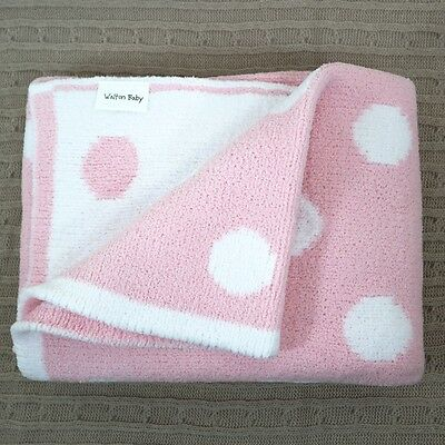 Luxury Soft Knit Baby Girls Blanket Nursery Bedding Cot Cotbed Pink White Spots