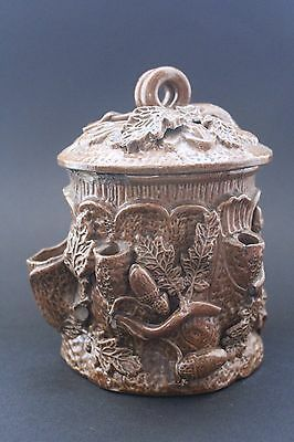 An Antique French Salt Glazed Stoneware Tobacco Jar and cover