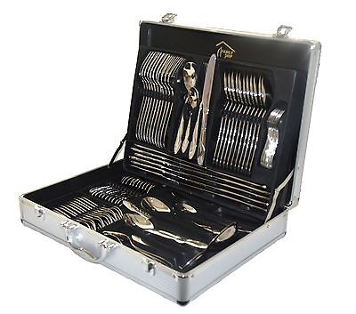New 84 Piece Stainless Steel Silver  Detail Supreme Quality Cutlery Canteen Set