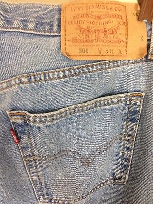 Levis 501 Jeans button fly red tab  straight leg Blue Faded W 33 L 30 Vintage