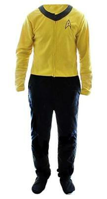 Mens Licensed Star Trek Union Suit Pajamas Costume Footed New Gold S,M,L or XL
