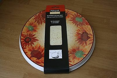 Pfaltzgraff Evening Sun Stove Burner Cover Set Of 4 Electric Stove Sunflower New
