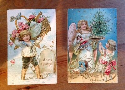 2 Old Vintage Collectable Christmas Postcards Cards