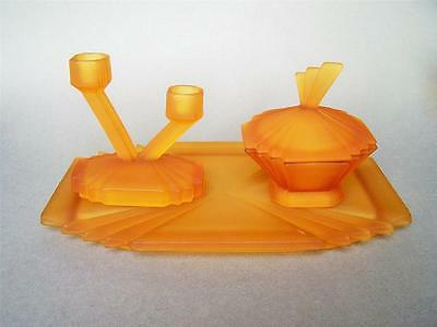 Art Deco Bagley Glass Frosted Amber Dressing Table Set - 3 pieces