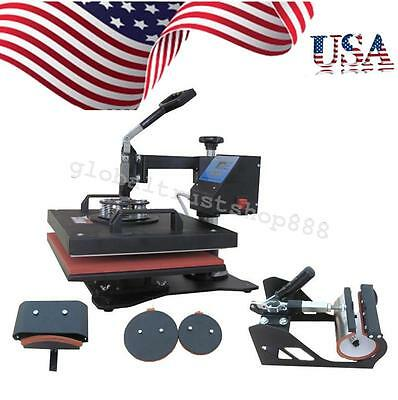 In USA 5 In 1 Heat Press Machine Digital Transfer Sublimation T-Shirt Mug Plate