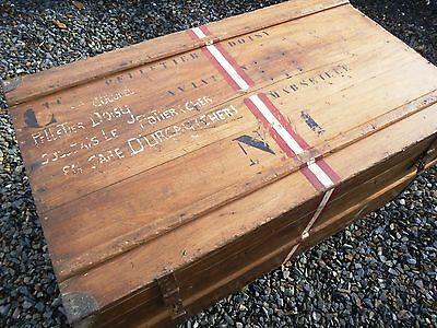 Old steamer trunk blanket box coffee table