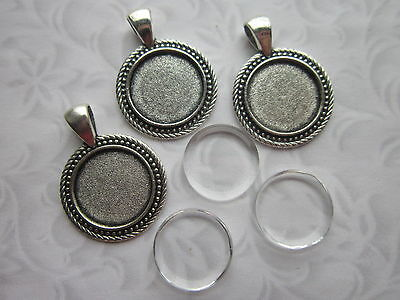 3 x Cabochon Setting Frame With Clear Glass Dome round 18 mm cabochons silver
