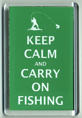 Acrylic Fridge Magnet Keep Calm and Carry On Fishing